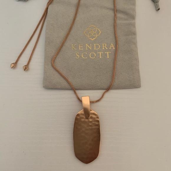Kendra Scott Inez Gold Long Pendant Necklace in Rose Quartz